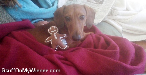 Mr. Bean with his gingerbread toy.