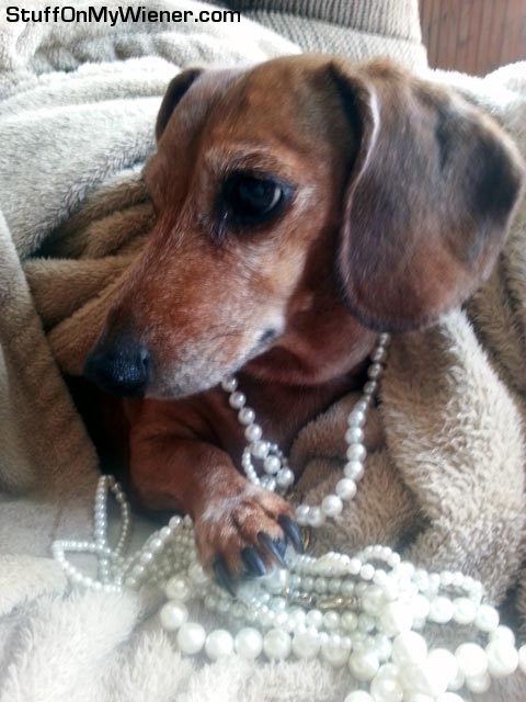 Lexie in pearls.